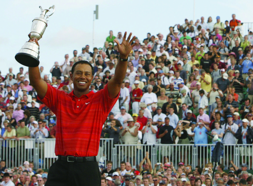 Tiger Woods after winning the 2006 Open Championship