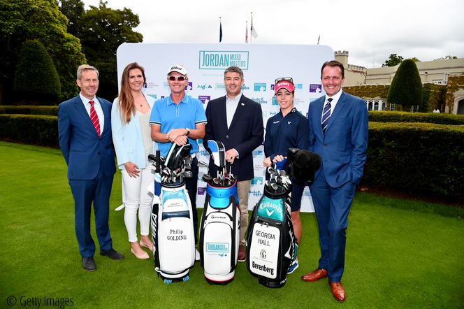 Keith Waters, COO European Tour, Kim Vande Velde, Head of Legal, Ladies European Tour, Philip Golding, Chris White, Director of Operations, Ayla, Georgia Hall and David MacLaren, Head of Staysure Tour, Three Tours come together for ground-breaking Jordan Mixed Masters presented by Ayla, © Getty Images