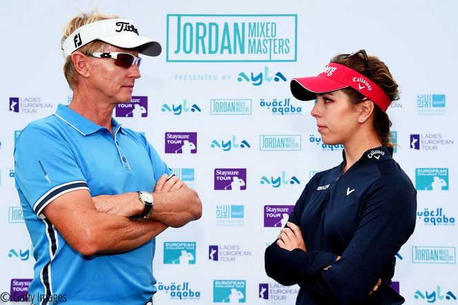 Philip Golding and Georgia Hall , Three Tours come together for ground-breaking Jordan Mixed Masters presented by Ayla, © Getty Images