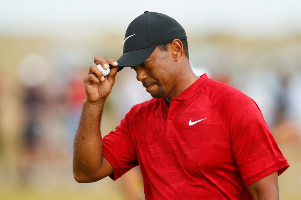 Golf - The 147th Open Championship - Carnoustie, Britain - July 22, 2018 Tiger Woods of the U.S. reacts during the final round REUTERS/Jason Cairnduff
