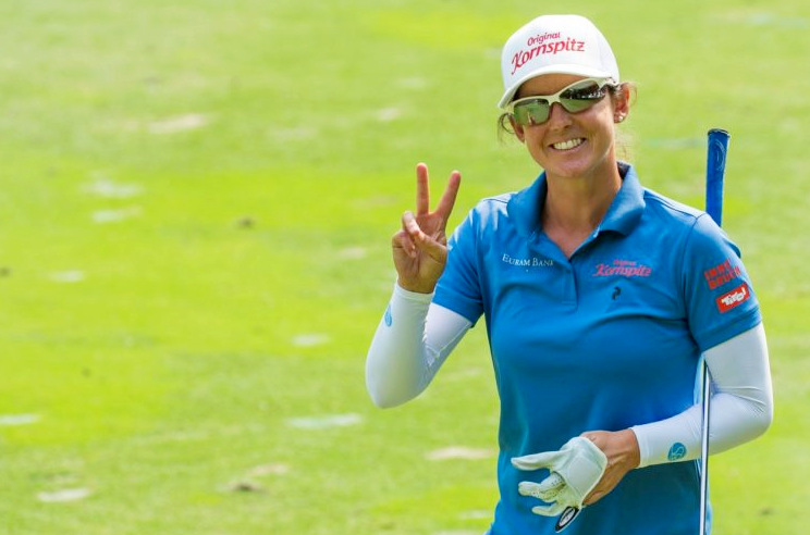 Christine Wolf holds a four-stroke lead heading into the weekend, © LET