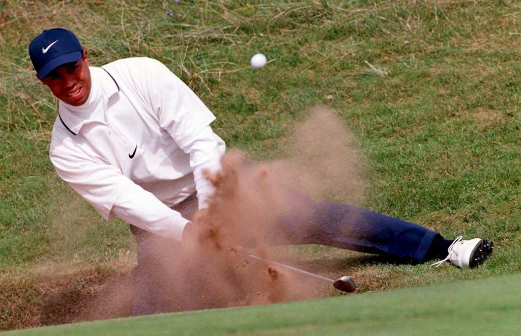 American Tiger Woods in a bunker during today's at the 126th Open Championship in 1997
