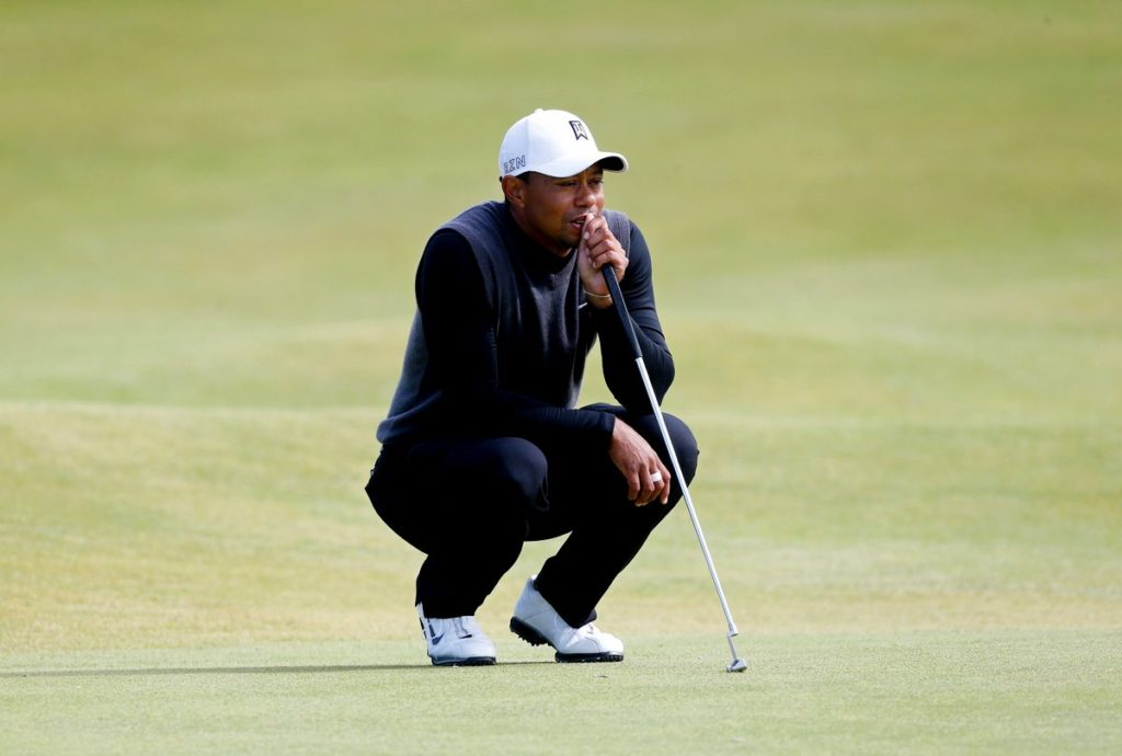 Tiger Woods on the green during the Champions Challenge at St Andrews, Fife in 2015