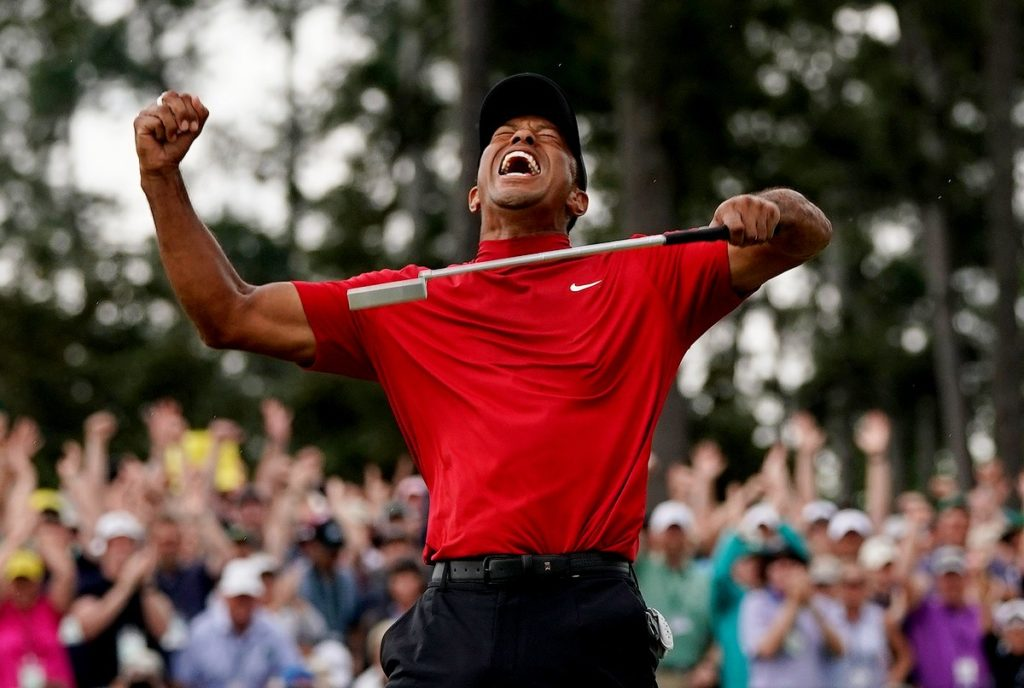Woods celebrates winning the 2019 Masters at Augusta