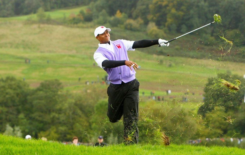 USA's Tiger Woods hits out the rough during the Ryder Cup at Celtic Manor, Newport in 2010