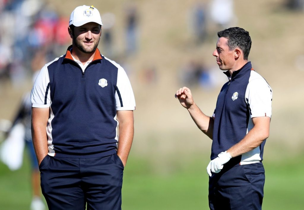 Jon Rahm (left) believes Ryder Cup team-mate Rory McIlroy is the man to beat at Augusta