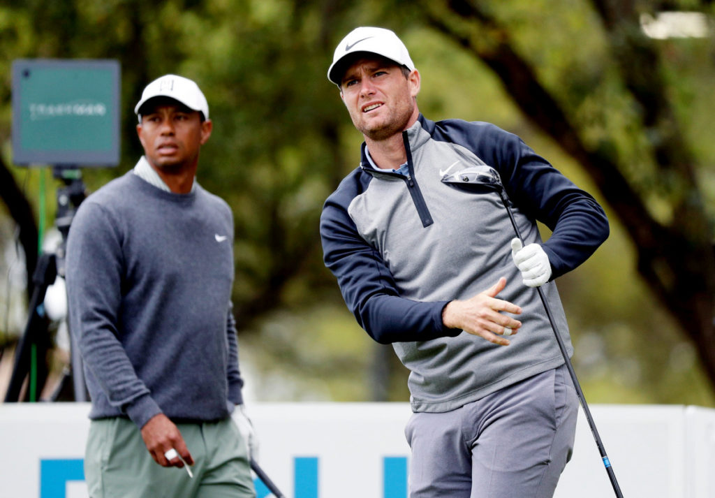 Lucas Bjerregaard (right) ended the challenge of former world number one Tiger Woods in Austin