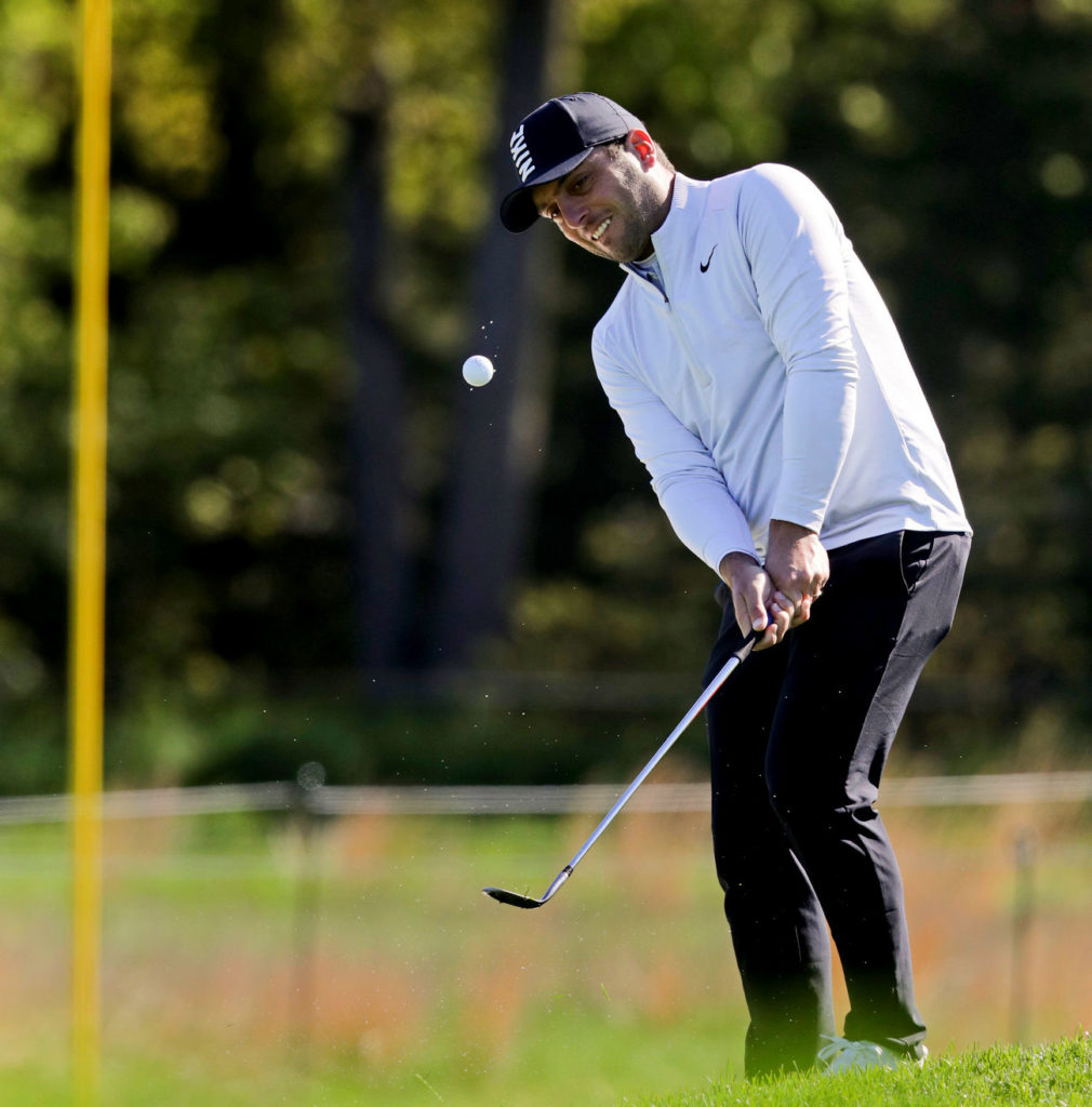 Francesco Molinari, of Italy during a practice round for the PGA Championship (AP Photo/Charles Krupa)